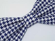 Navy Blue Houndstooth Bow Tie / Navy Blue & White Houndstooth Pre-tied Bow tie
