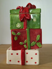 Stack Of Christmas Presents Cookie Jar Wrapped Ribbon Bow Red Green White