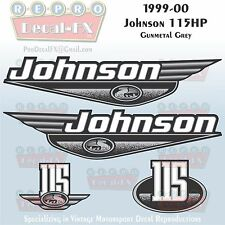 1999-00 Johnson 115HP Gunmetal Grey Outboard Reproduction 4Pc Marine Vinyl Decal