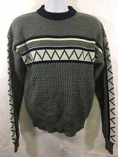 Vintage Silton Pullover Sweater 1970s 80s LG Acrylic Gray Blue Mens