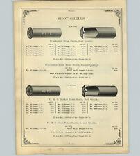 1890 PAPER AD Winchester UMC Berdan Brass Gun Shells #12 Paper Pin Fire