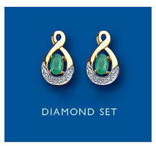 Emerald and Diamond Stud Earrings Yellow Gold Hallmarked Solid
