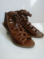 PIKOLINOS Ladies Brown Leather Strappy Peep Toe Wedge Heels Size 39 8.5-9 US
