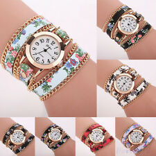 Womens Fabric Strap Watches Flower Bracelet Bangle Quartz Wristwatches