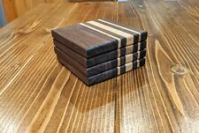 Handmade coasters hard maple black walnut hardwood wood custom barware