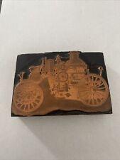 Vintage Printing Letterpress Printers Block Car Copper Face Rare Antique