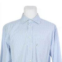 Faconnable Blue White Striped Long Sleeve Button Front Dress Shirt Mens 17