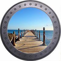 3D Porthole Window Beach Ocean Sea Sun Sticker Wall Poster Vinyl GA25-19