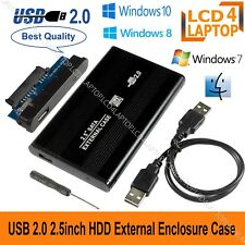 "USB 2.0 SATA Hard Drive Enclosure HDD 2.5"" inch External Case Caddy UK - Black"