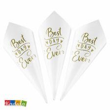 10 Coni Porta Riso Bianchi BEST DAY EVER Oro Matrimonio Wedding Bag Portariso