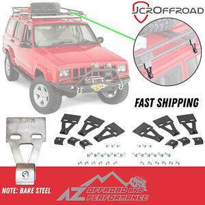 JCR Offroad Roof Rack Mounts - 6 Piece Set - Bare Steel - 84-01 Jeep Cherokee XJ