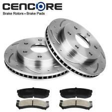 Front Set 2 Drilled Slotted Brake Rotors & 4 Ceramic Pads For Chevrolet For GMC