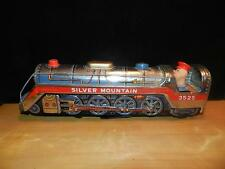 Vintag SILVER MOUNTAIN 3525 Battery Operated Metal Tin Train Engine 1950s LITHO