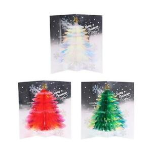 3D Pop-Up Christmas Greeting Cards Tree Handmade Holiday Card with Envelope