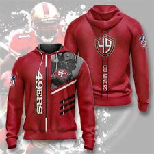 San Francisco 49ers Mens Hoodie Sweatshirt Full Zip Hooded Coat Casual Jacket