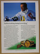 1988 Jean-Claude Killy photo Rolex GMT-Master gold watch vintage print Ad