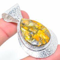 "Bumblebee Jasper Gemstone Handmade Ethnic Gift Jewelry Pendant 2.17"" VS-2719"