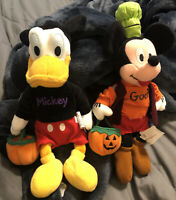 "Walt Disney Halloween Mickey As Goofy & Donald as Mickey Bean Bag 11""  Plush"