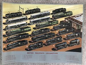 ORIGINAL 1950s BRITISH RAIL POSTER ILLUSTRATIONS OF LOCOMOTIVES. A.N.WOLSTENHOLM