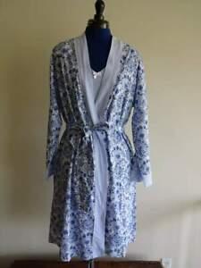 CAROLE HOCHMAN BLUE White PAISLEY STRIPE Jersey Womans NIGHT GOWN ROBE Set 2PC