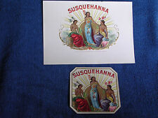 Embossed Susquehanna Inner & Outer Cigar Labels/Sexy Bare Breasted Indian Girls