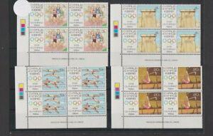 Cyprus 1984 Olympic Games Los Angeles x 4 sets T/L Corner Blocks MNH per Scan