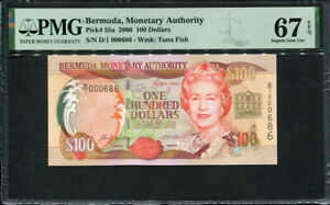 Bermuda 2000, 100 Dollars, P55a, PMG 67 EPQ Superb GEM UNC