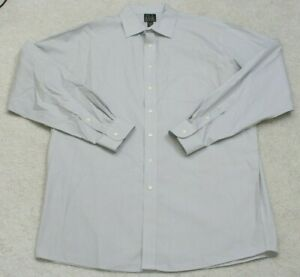 Jos. A. Bank Gray Dress Shirt 17.5 38 Cotton Striped Button Front XL Extra Large