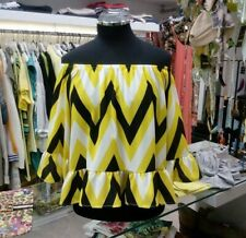 Italian yellow black Casual Summer Funky Loose Off shoulders Ruffle Top Tunic M