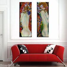 TIME4BILD GUSTAV KLIMT 2 BILDER Wasserschlangen LEINWAND 2x120x40cm Kunst Erotik