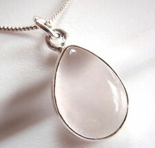 Rose Quartz Pear-Shaped 925 Sterling Silver Necklace Corona Sun Jewelry