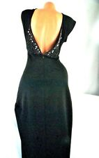 Victoria's Secret Long Maxi Night Dress Black V Back Jeweled Bling Size 8