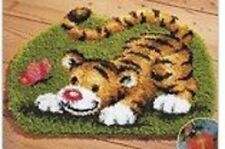 """Latch Hook Rug Kit """"Tiger Cub and Butterfly"""" 52x38cm Shaped"""