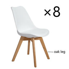 Set of 8 Eggree Tulip Dining Chairs Office Chair Soft Pad Solid Wood Oak Legs