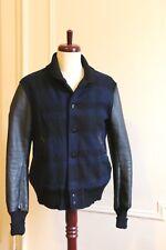 Woolrich Woolen Mills mint fitted Sportman Baseball leather sleeve Jacket M
