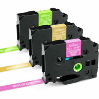 3PK TZe-MQG35 TZeMQP35 Pink/Gold/Green Fit for PTouch  Brother Label Maker Tape