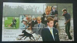 [SJ] Falkland Islands Prince William 18th Birthday 2000 Royal (ms) MNH
