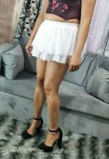 White Tutu Micro Mini Skirt Women's High Waist Short Pleated Fitted Rara