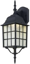 Outdoor LED Wall Mount Lantern Light Lamp Black Lighting Fixture Textured Glass