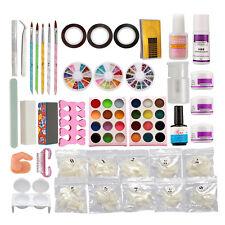 Full Nail Art Kits Liquid Acrylic Powder Natural Nail Tips Brush Glue Tools Set