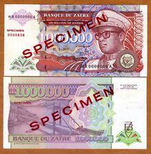 SPECIMEN, Zaire, 1000000 (1,000,000) Zaires 1993, P-45s (45) UNC