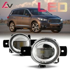 For Infiniti QX60 14-15 Clear Lens Pair LED Fog Light Lamp Replacement