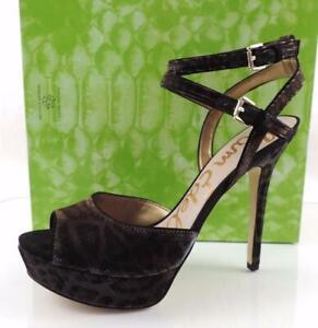 Sam Edelman Nadine Ankle Strap Platform Sandals Heels Bronze Leopard Size 10.5