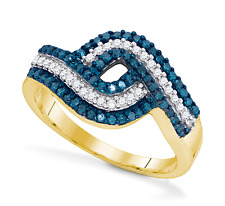 10K Yellow Gold Blue and White Diamond Ring Band Twist Design .50ct band Size 7