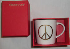 Starbucks Gold Peace Sign Mini Mug 2015 3 oz Espresso  In Box Limited Edition