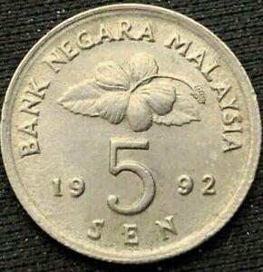 1992 Malaysia 5 Sen Coin XF+        World Coin Copper Nickel       #K275