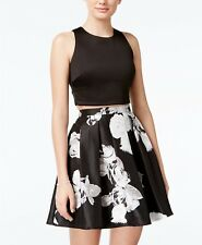 Sequin Hearts Junior's Black White Floral Pleated Fit & Flare Skirt Size 1