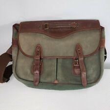 DayTimer Vintage Leather Suede Messenger Bag Briefcase Distressed Green Brown