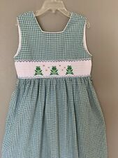 Anavini Girls Vintage Smoked Dress Size 6X Sleeveless Green Frogs Multicolored