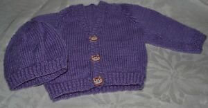 Hand knitted New Born Baby Cardigan and Beanie set